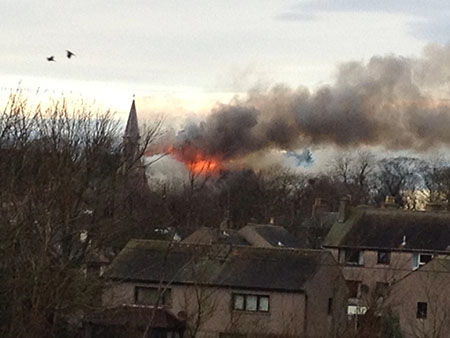 West Church on fire
